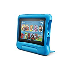 """Made for Kids Fire 7 Kids Edition Tablet includes a Kid-Proof Case with built-in stand, 1-year of Amazon FreeTime Unlimited, and a 2-year worry-free guarantee. Enjoy the 7"""" display, faster processor, 16 GB internal storage, and up to 7 hours ..."""