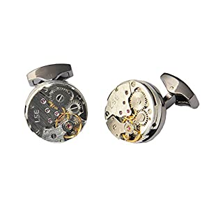 D&L Menswear Mechanical Gear Steampunk Watch Movement Round Cufflinks With Black Gift Box