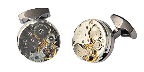 D&L Menswear Mechanical Gear Steampunk Watch Movement Round Cufflinks With Black Gift Box 3