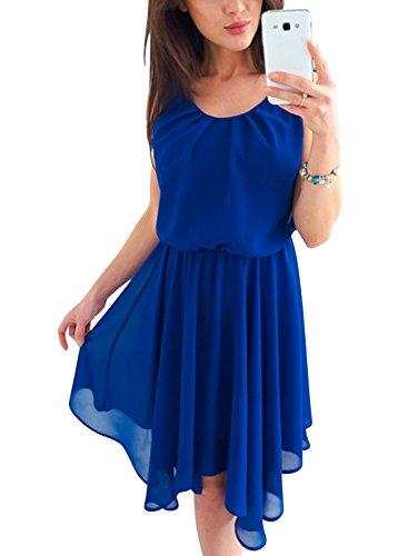 The Aron ONE Vestidos de Fiesta Mujer Cortos Elegante Verano Cuello redondo Sin mangas Llanura Gasa Cintura Elástica Plisado Midi Playa Coctail Vestido de Noche Azul