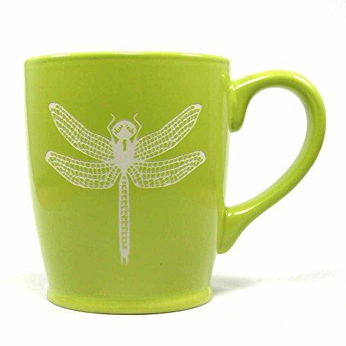 DRAGONFLY Coffee Mug - GREEN - 16 oz - Microwave-safe Engraved Stoneware