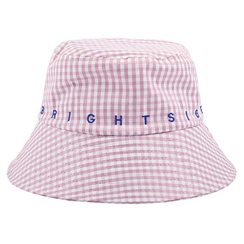 (Benficial Fashion Cotton Adults Letter Printed Bucket Hat Summer Fisherman Bucket Sun Hat Beach Festival Sun Hat Pink)