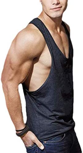 Romancly メンズ サマー コットン カジュアル ルーズ スポーツ ラウンド ネック タンク シャツ