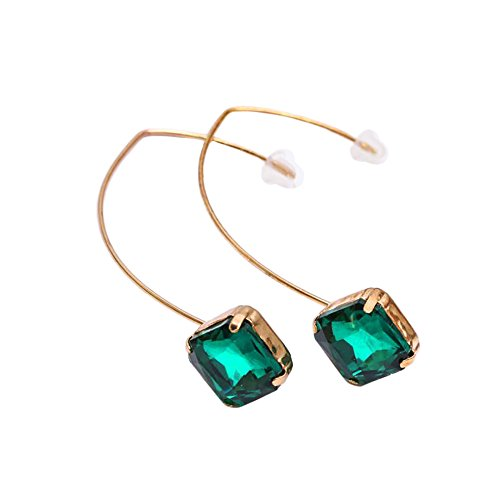 Stylish Goldtone Green Diamond Rhombus Earrings Faux emerald Elegant Jewelry (Rhombus Green)
