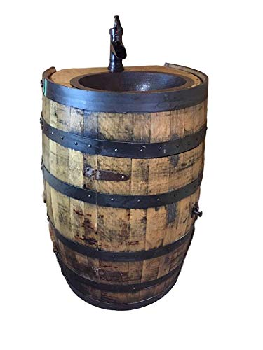 Whiskey Bourbon Barrel Vanity Sink Flat Back