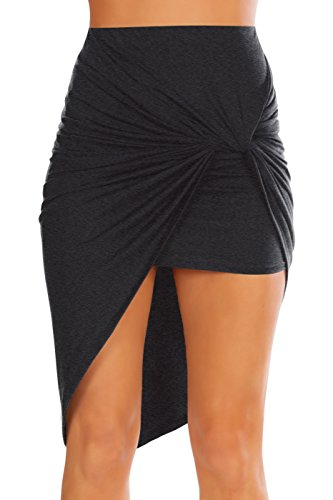 Womens Drape Up Stretchy Asymmetrical High Low Short Mini Bodycon Pencil Skirt, Charcoal, Small