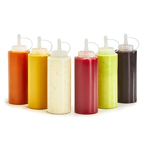 Plastic Squeeze Bottles - 6-Pack Multipurpose Squirt Bottles For Condiments, Sauce, Dressing, More - Reusable Plastic Containers With Lids, BPA Free, Dishwasher Safe by Swizzle Bottles, 12 Ounce 12 Oz Condiment Squeeze Bottles