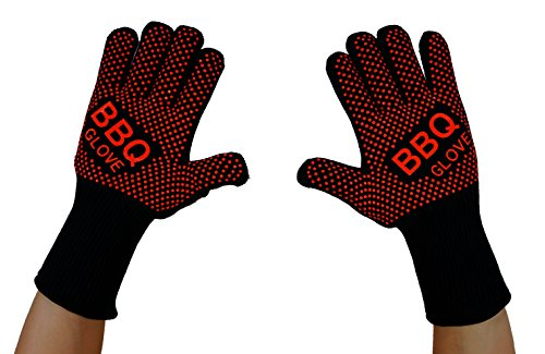 VlixIt BBQ Oven Gloves - Fireproof Heat Resistant Grill Kitchen Mits for Grilling, Cooking, Baking, or Fireplace