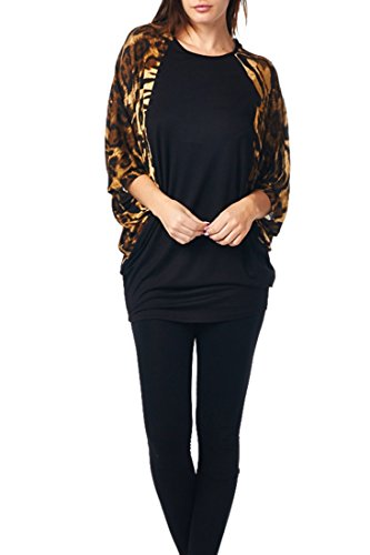 82T-2231RS-A01 Women'S Rayon Span Contrast Print Jersey Tunic with Butterfly Sleeves - A01 Gray Tiger S -