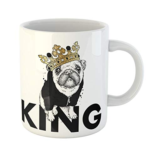 Semtomn Funny Coffee Mug Beautiful Pug in the Jacket and Crown Dog Hipster 11 Oz Ceramic Coffee Mugs Tea Cup Best Gift Or Souvenir