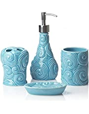 Designer - 4 Piece Bathroom Accessories Set - with Soap or Lotion Dispenser, Toothbrush Holder, Tumbler and Soap Dish - Glossy Finish - Porcelain (Ocean Waves, Aqua Blue) - Holds 461ml