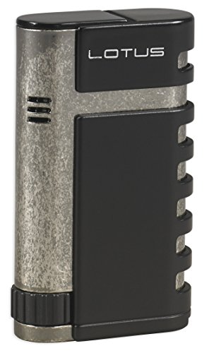 (Lotus Mercury Twin Pinpoint Lighter w/Cigar Punch - Black Matte & Antique Pewter)