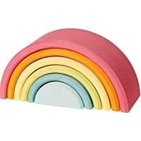 Piccolo Toys Pastel Rainbow Stacker 7 Piece Rainbow Wall Hanging Tassel Art Dream Catcher for Living Room Kids Room Decor