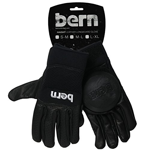 BERN Unlimited Leather Haight Longboard Glove, Black, Large/X-Large