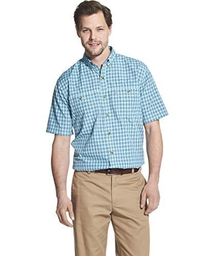 (G.H. Bass & Co. Men's Explorer Short Sleeve Fishing Shirt Plaid Button Pocket, Aqua Splash, X-Large)