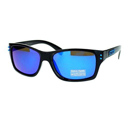 Mens STFU Urban Rectangular Plastic Biker Color Mirror Sport Sunglasses - Slogan Eyewear