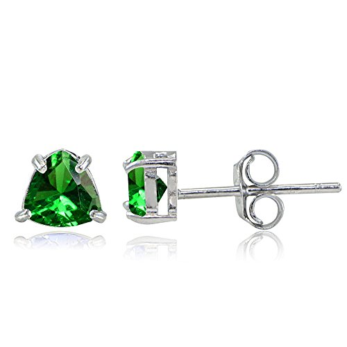 Sterling Silver Created Emerald Trillion-Cut Stud Earrings