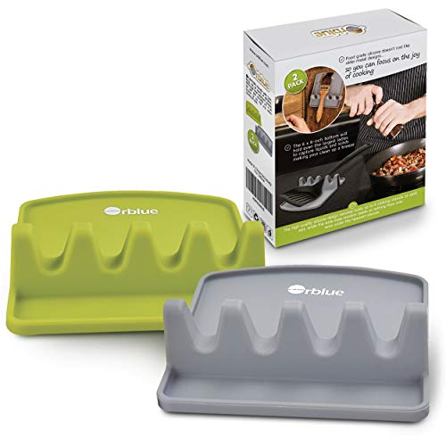 Orblue Giant Spoon Rest - Silicone Utensil Rest w/ 2 Color Coded Ladle & Spoon Holder - Lime Green & Slate Gray (Green Ladle)