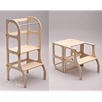 Helper tower/table / chair all-in-one, Montessori learning stool, kitchen step stool - WOODEN color/SILVER clasps
