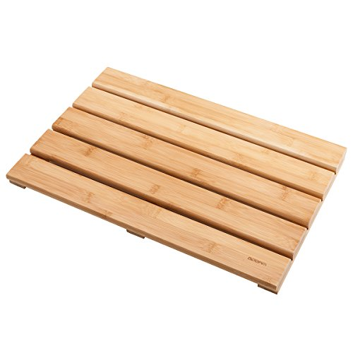 Wood Bathroom - GOBAM Shower Mat Bath Mat for Spa Relaxation,Bathroom Rugs,Non-Slip for Indoor/Outdoor,Bamboo (19.7 x 13 x 1.3 inches)