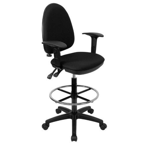 Mid Back Multifunction Fabric - Flash Furniture Mid-Back Black Fabric Multifunction Drafting Chair with Adjustable Lumbar Support and Adjustable Arms
