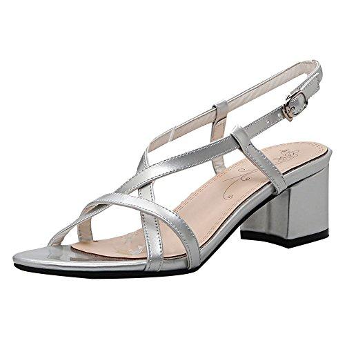 Carolbar Femmes Boucle Simple Confort Mode Sandales Mi-talon Argent
