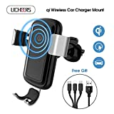 licheers Wireless Car Charger, Gravity Car Mount Wireless Charger Phone Holder for iPhone X/8/8 Plus Samsung Galaxy S8, S8 Plus, S7, S7 Edge, S6 Edge Plus, Note 8 (Silver)