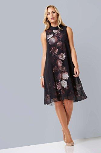 mousseline longue en noir imprim avec Noir Robe floral Roman femmes Originals dt wnYBpRtq