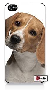 Cute Beagle Pet Dog iPhone 4 Quality Hard Snap On Case for iPhone 4 4S 4G - AT&T Sprint Verizon - Black Frame