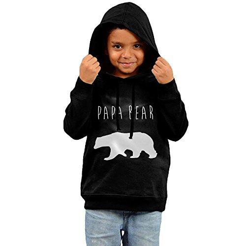 ZheuO Boys & Girls Baby Papa Bear Classic Hoodie Hooded Sweatshirt 4 Toddler Black