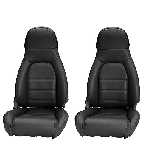 Standard Seat Upholstery - AutoBerry Compatible with Mazda Miata Front Seat Cover Kit Standard Seats Black Leatherette 1990-1996