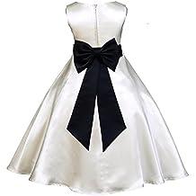 ekidsbridal Ivory Satin A-Line Flower Girl Dress Junior Bridesmaid Dress 821T