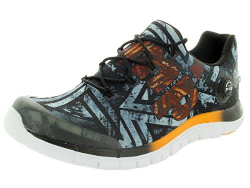 Reebok Men s Zpump Fusion Geo Black Orange White Running Shoes 10.5