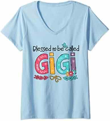 db8b76f2 Womens Funny Grandma Gift - Blessed To Be Called Gigi Flower V-Neck T-