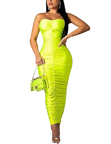 (Adogirl Ruched Bodycon Dresses Party Clubwear Strapless Fitted Sexy Tube Dress Green L)