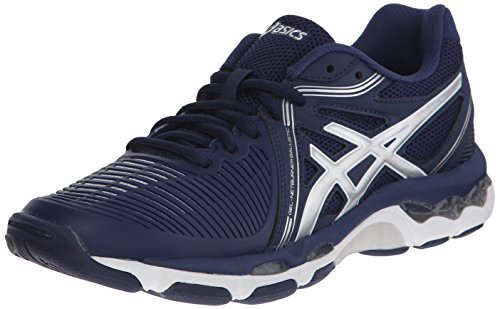 UPC 889436044556, ASICS Women's Gel Netburner Ballistic Volleyball Shoe, Navy/Silver, 8 M US