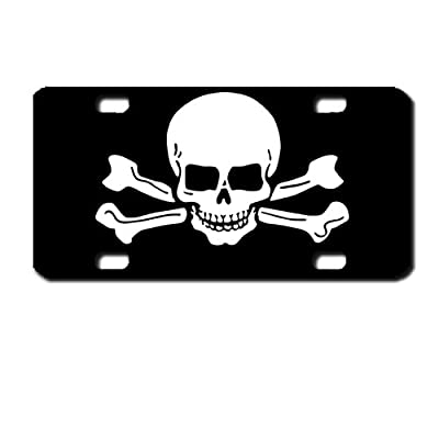 Skull and crossbones Mini License Plate motorcycles, ATVs, bicycles and kiddie cars. Great Gift Idea