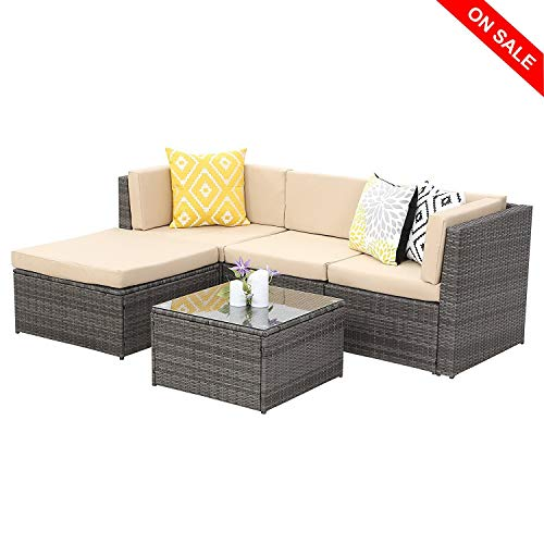 Wisteria Lane Outdoor Sectional Patio Furniture,5 Piece Wicker Rattan Sofa Couch with Ottoma Conversation Set Gray Wicker,Beige Cushions -