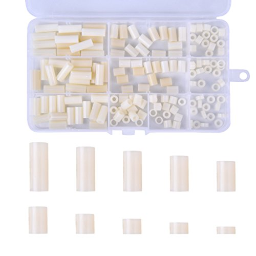 Hotusi 150Pcs Nylon Plastic Round Spacer Assortment Kit, for M3 and M4 Screws Come with Plastic Box (Spacer Assortment)