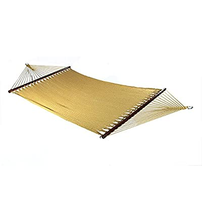 Sunnydaze Polyester Rope Hammock, Large Double Wide Two Person with Spreader Bars - for Outdoor Patio, Yard, and Porch - Tan - PERFECT SIZE: Large tree hammock is 55 inch wide x 133 inch long, weighs 19 pounds. Bed is 55 inch wide x 88 inch long, and has a weight capacity of 600 pounds. VERSATILE USE: Portable hammock can be tied between trees, poles, or be used with a 12-foot stand (Stand not included). Can also be used as a replacement hammock. COMFORT AND STYLE: Outdoor hammock is made from tightly woven soft spun polyester rope, which is superior and longer lasting than cotton. The wood spreader bars allows for extra stability and style. - patio-furniture, patio, hammocks - 41EorRpDmNL. SS400  -