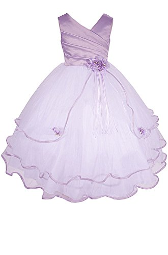 AMJ Dresses Inc Little Girls' Lilac Flower Girl Pageant Dress B138 Sz 6 - Girls Lilac Flower Girl