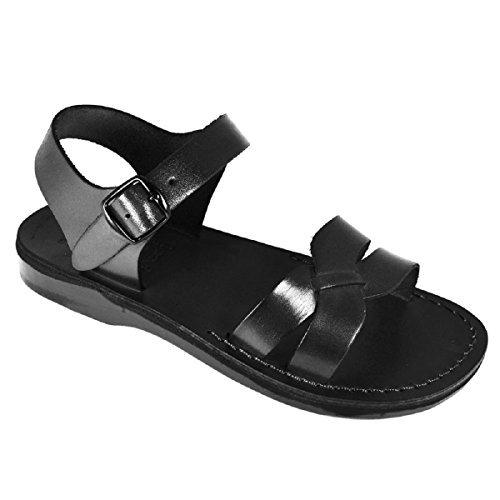 Camel Unisex Genuine Black Leather Style #907 Jesus Biblical Greek Roman Sandals