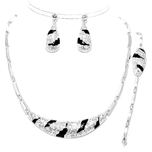 3 Pcs Elegant Luxury Silver Black Crystal Zebra Wild Print Necklace Bracelet Earrings Set]()