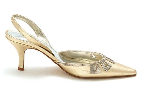 Caparros Mujer's Valioso Punta Estrecha Slingback Classic Pumps Gold Metal