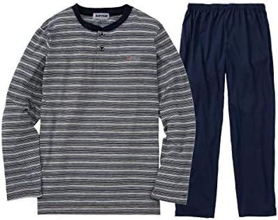 [nissen(ニッセン)] パジャマ・ルームウェア kansai 長袖上下セット(先染めボーダーヘンリーネック+パンツ)