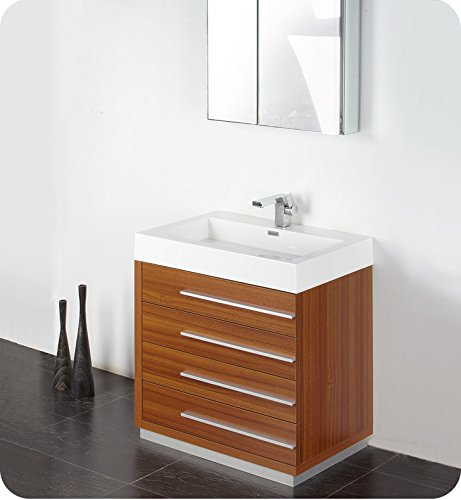 "Fresca Bath FVN8030TK Livello 30"" Vanity with Medicine Cabinet, Teak"