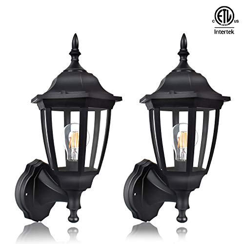 FUDESY 2-Pack Outdoor Wall Lanterns,12W Plastic Exterior Wall Lights with Hard Wire,Waterproof Porch Light Fixtures for Garage,Front Door,Patio,Yard,FDS2542EB2 (Yard Fountains Front Sale For)