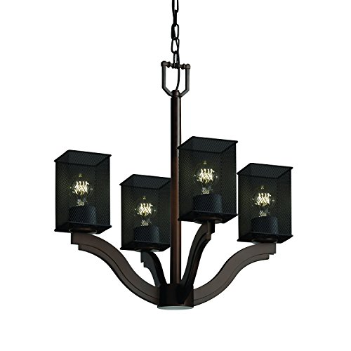 Flat Rim Chandelier - Justice Design Group Wire Mesh Collection - Bend 4-Light Chandelier - Square with Flat Rim - Dark Bronze Finish with Wire Mesh Shade