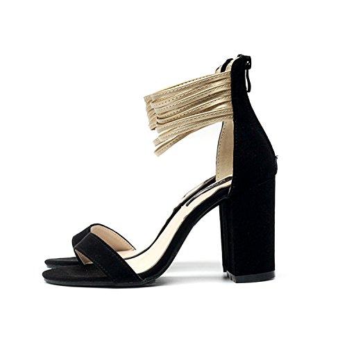 cooshional Damen Sandalen mit Absatz Mehrschicht-Ankle-Strap Peep Toe High  Heels Schwarz