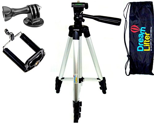 Tripod Mount Set By DreamLifter|Durable Stand For Smartphones, Telescopes, Digital and Go- Pro Cameras|With Ergonomic Handle and Anti-Slip Rubbers|360o Rotation|Carrying Bag Included|E-Book Bonus from DreamLifter Team